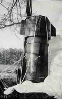 One of the nuclear Bombs at Goldsboro, largely intact, with its parachute still attached