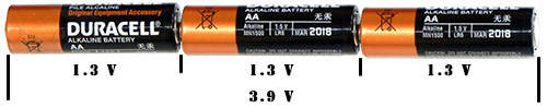 3 aa batteries series