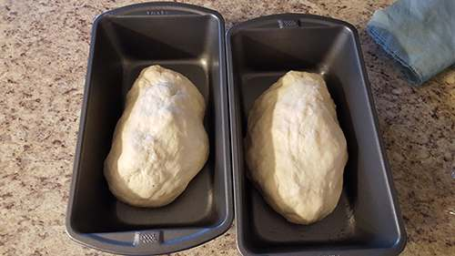 amish sweet bread dough in trays