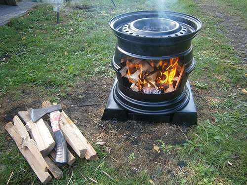 How to Make Your Own Wood Stove from Two Tire Rims 4