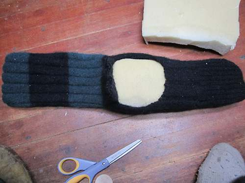 sock for boot with foam inside