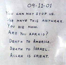 letter with anthrax - from 2001 terrorist attacks