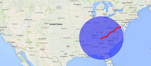 500 miles radius