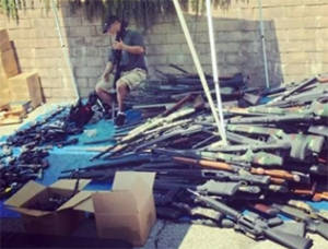 police with 1200 guns