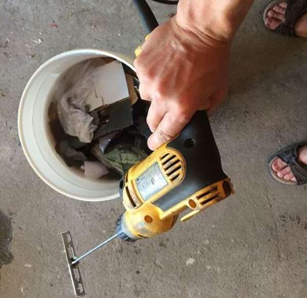 Drill attachment turns it into mulch