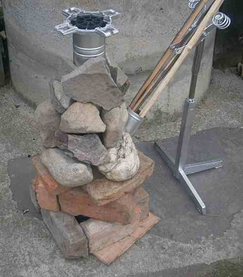 long burner rocket stove finished product