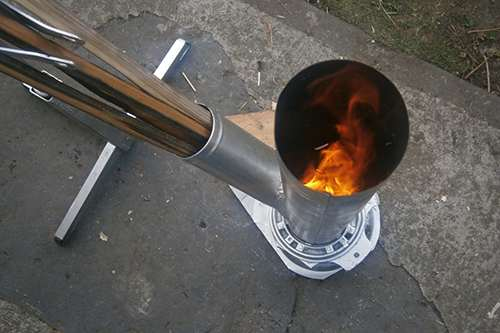 long burner rocket stove fired up 2