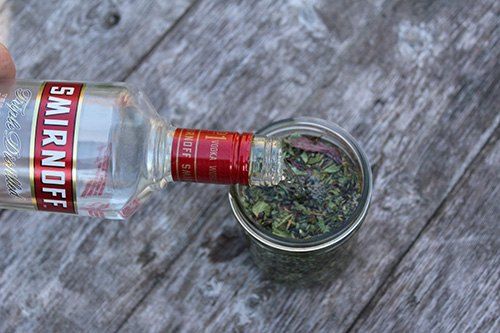 Adding Vodka to Dried Herbs