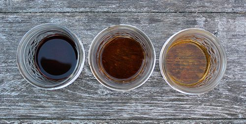 Colors of 3 finished tinctures - Elderberry; Echinacea and Chamomile