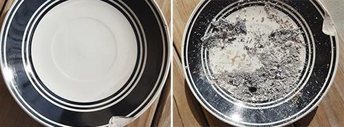 cleaning plates with wood ash
