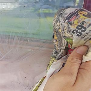 cleaning windows with wood ash